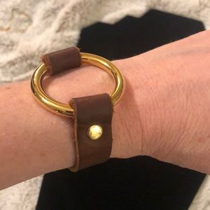 Jewelry - Leather and Gold Circle Decal Bracelet
